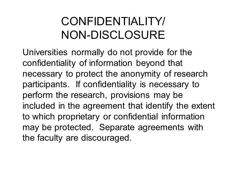 CONFIDENTIALITY/ NON-DISCLOSURE