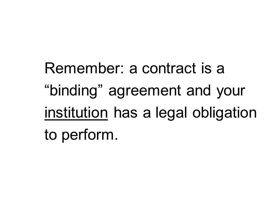 Remember: a contract is a
