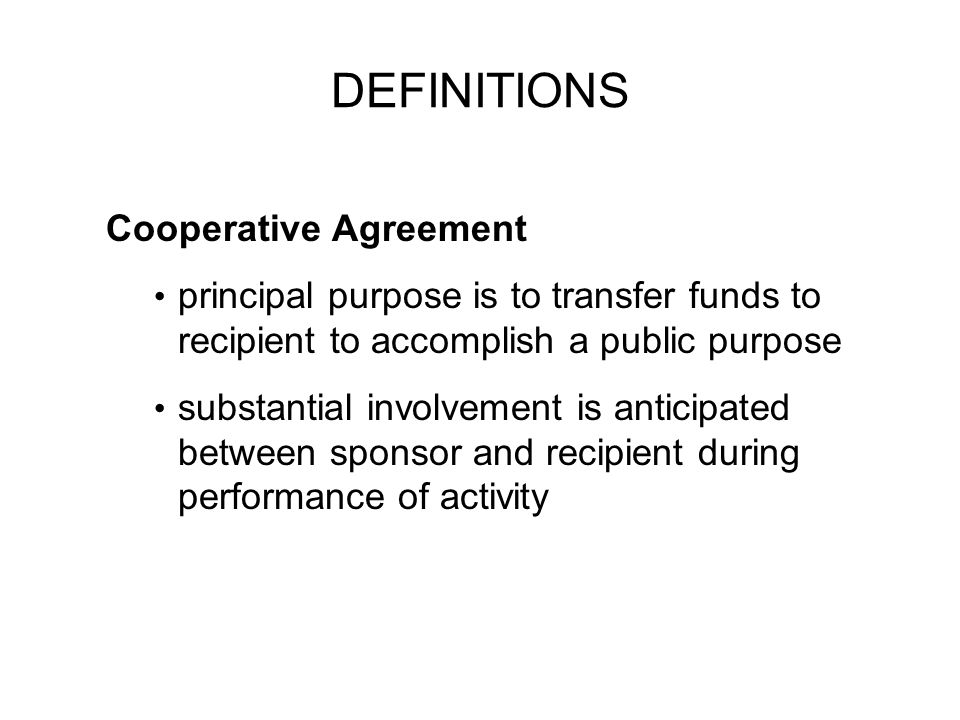 DEFINITIONS Cooperative Agreement