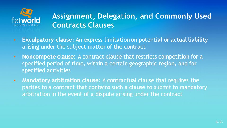 Assignment, Delegation, and Commonly Used Contracts Clauses