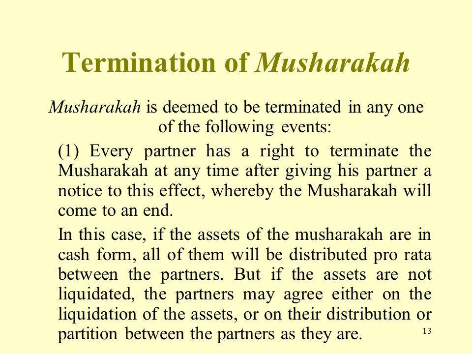 Termination of Musharakah