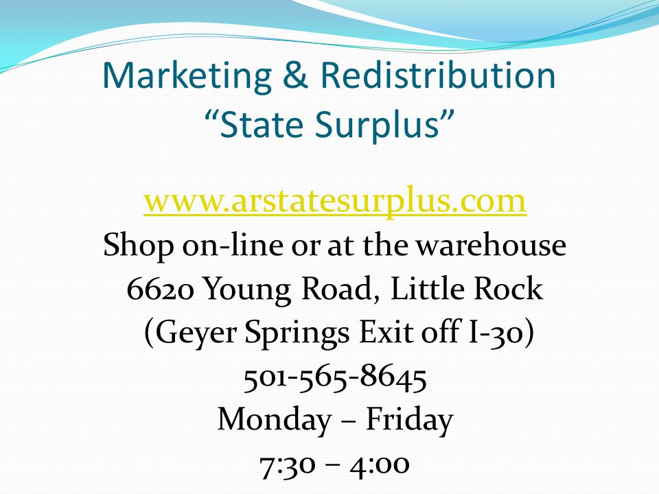 Marketing & Redistribution State Surplus