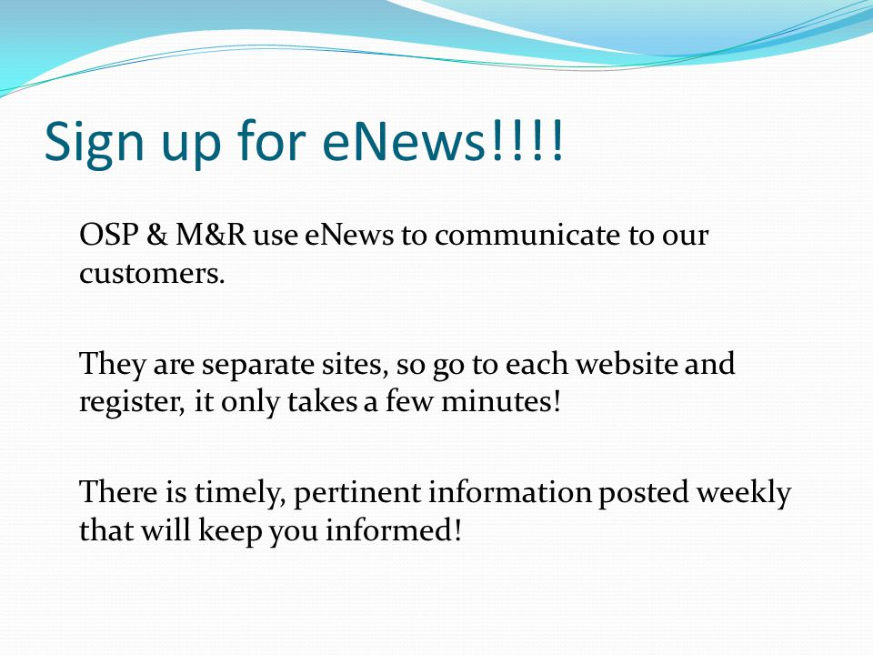 Sign up for eNews!!!!