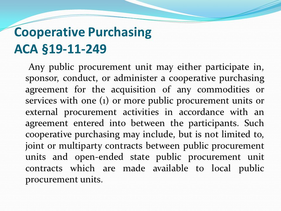 Cooperative Purchasing ACA §