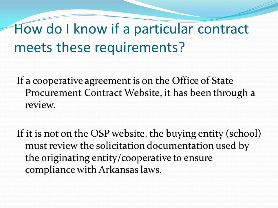 How do I know if a particular contract meets these requirements