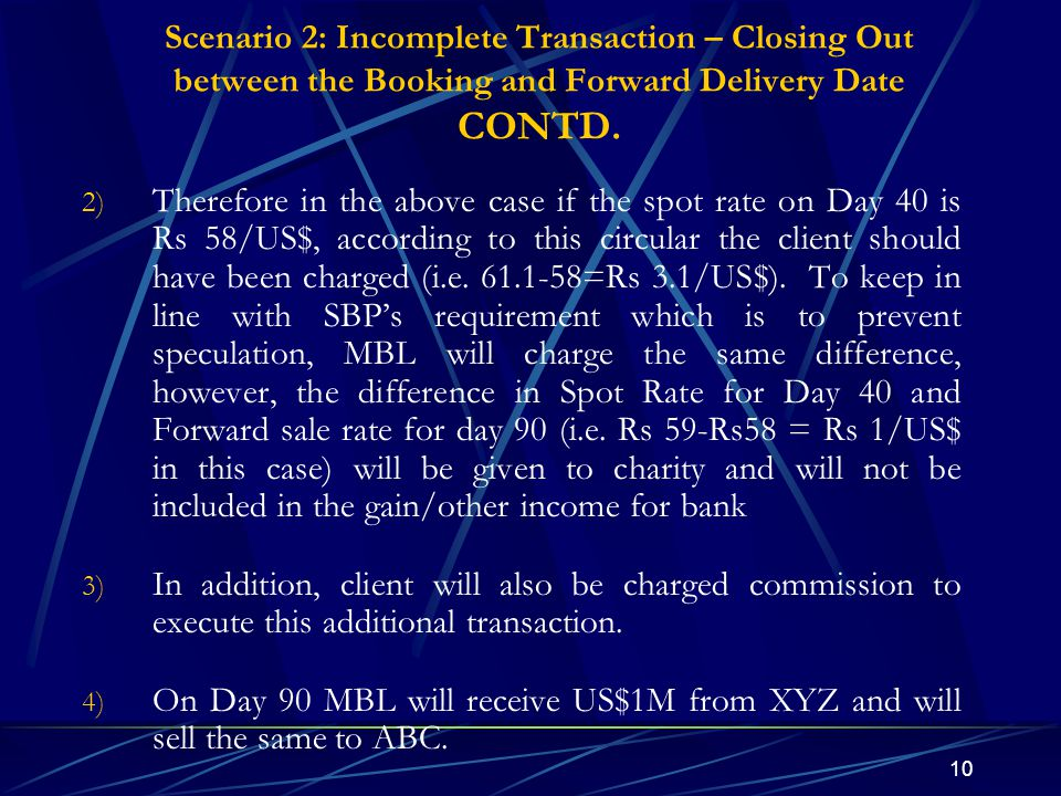 Scenario 2: Incomplete Transaction – Closing Out between the Booking and Forward Delivery Date CONTD.