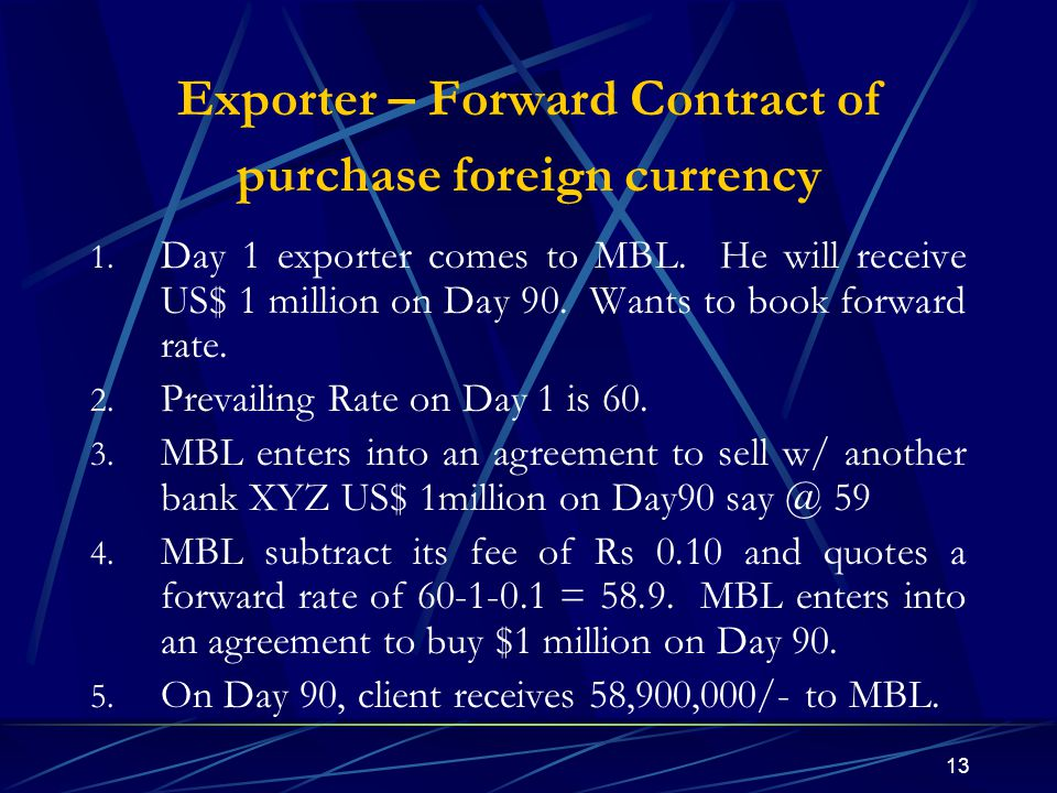 Exporter – Forward Contract of purchase foreign currency