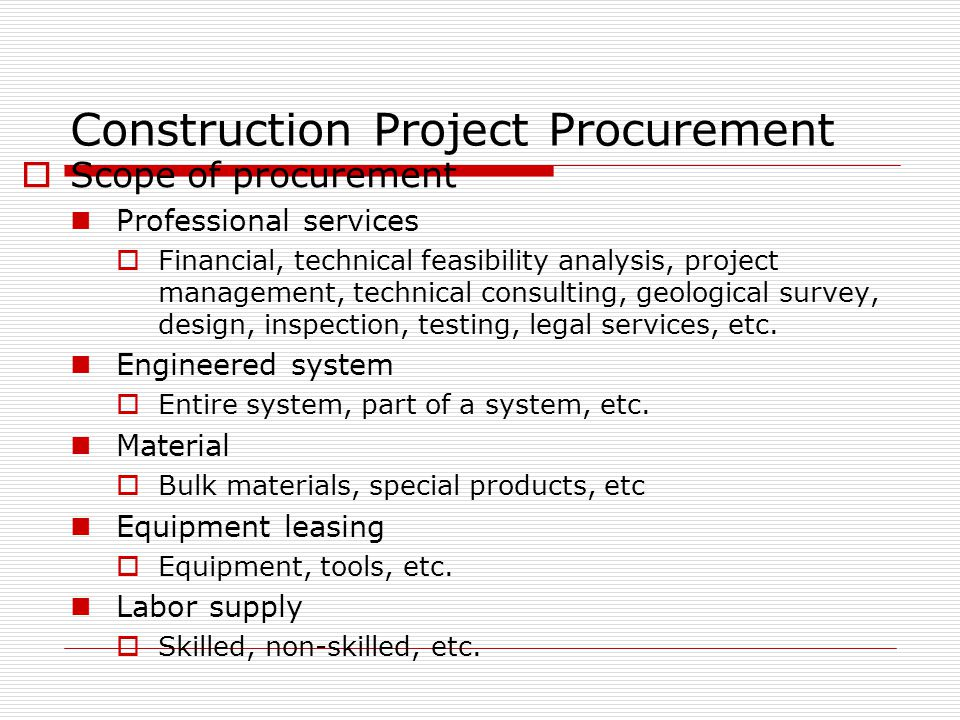 Infrastructure, Construction & Procurement