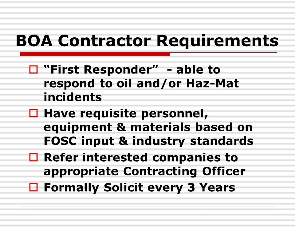 BOA Contractor Requirements