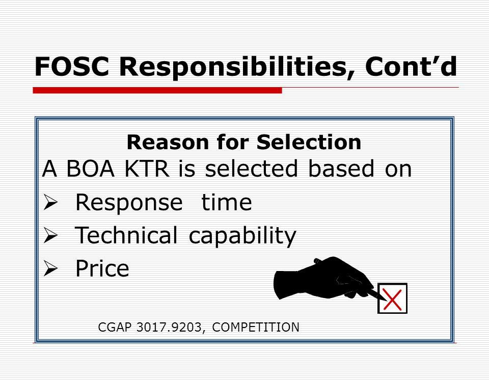 FOSC Responsibilities, Cont'd