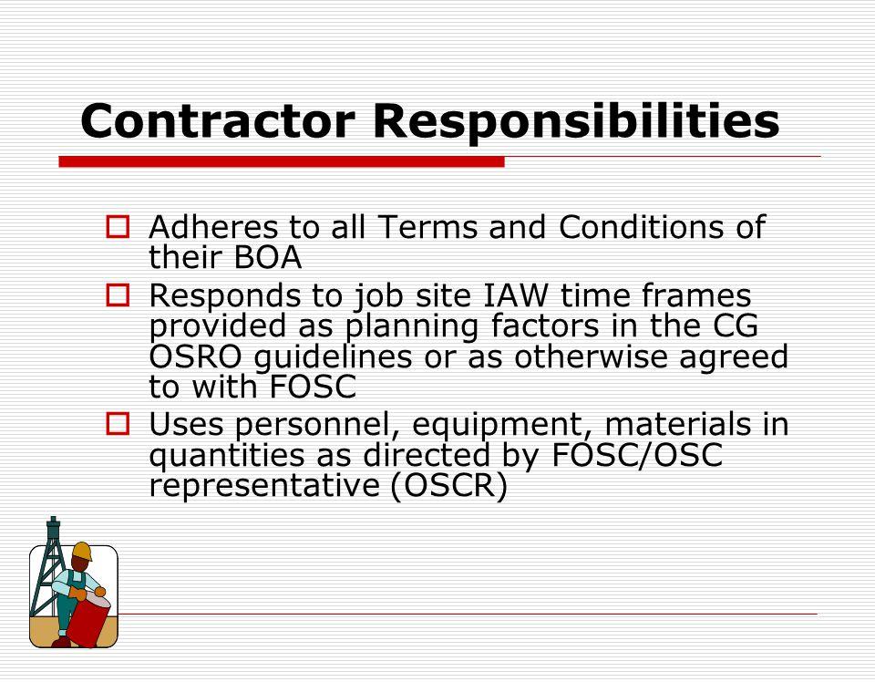 Contractor Responsibilities