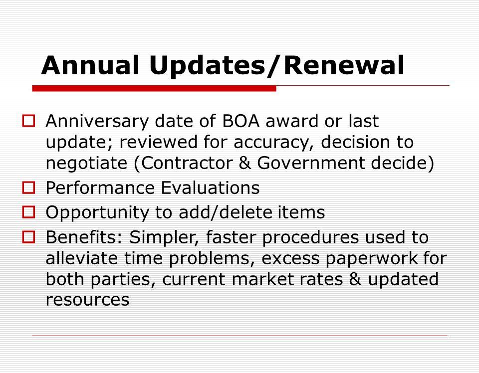 Annual Updates/Renewal