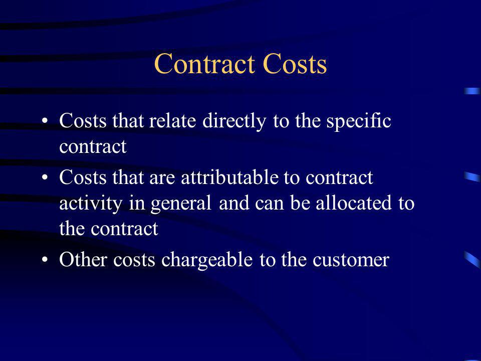 Contract Costs Costs that relate directly to the specific contract