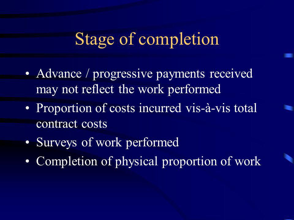 Stage of completion Advance / progressive payments received may not reflect the work performed.