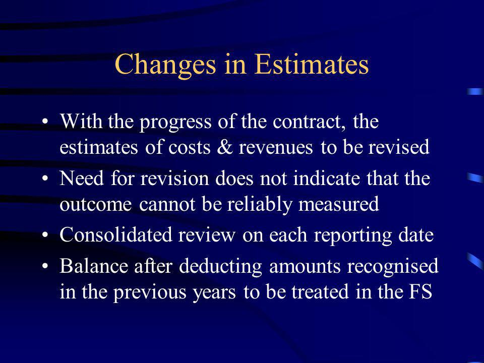Changes in Estimates With the progress of the contract, the estimates of costs & revenues to be revised.