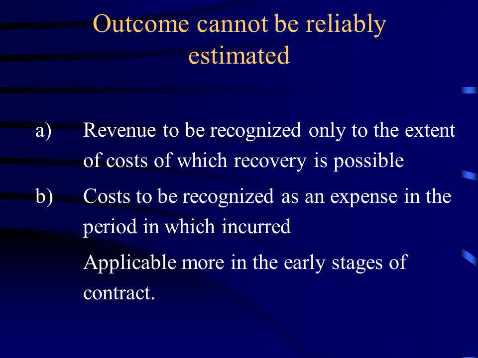 Outcome cannot be reliably estimated