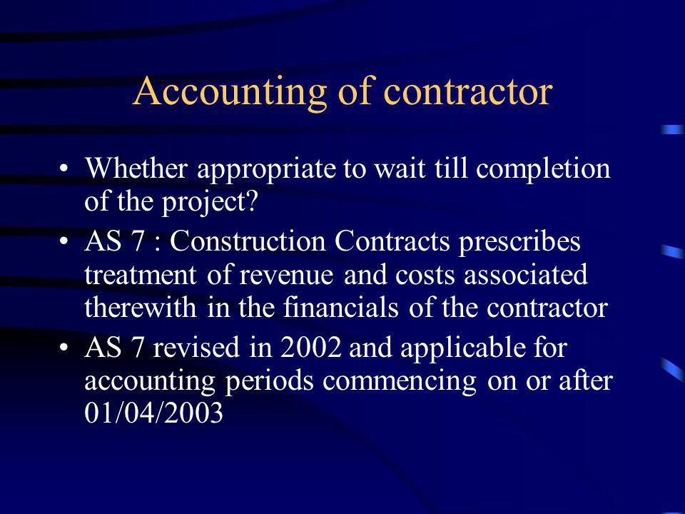 Accounting of contractor