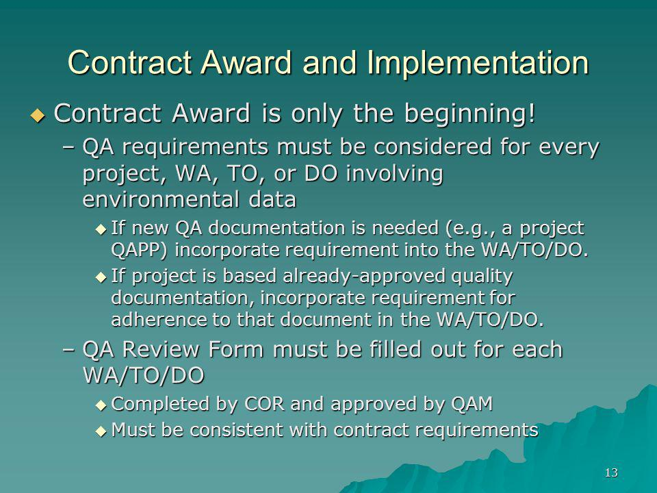 Contract Award and Implementation