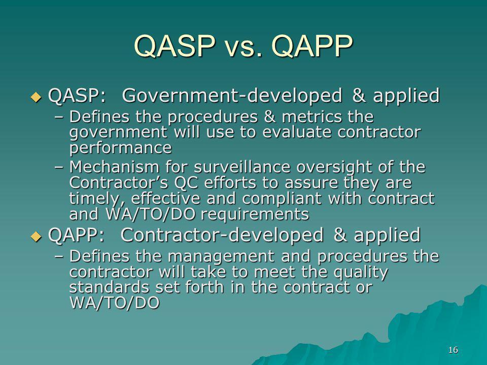 QASP vs. QAPP QASP: Government-developed & applied