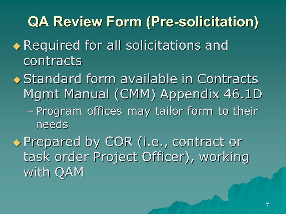 QA Review Form (Pre-solicitation)