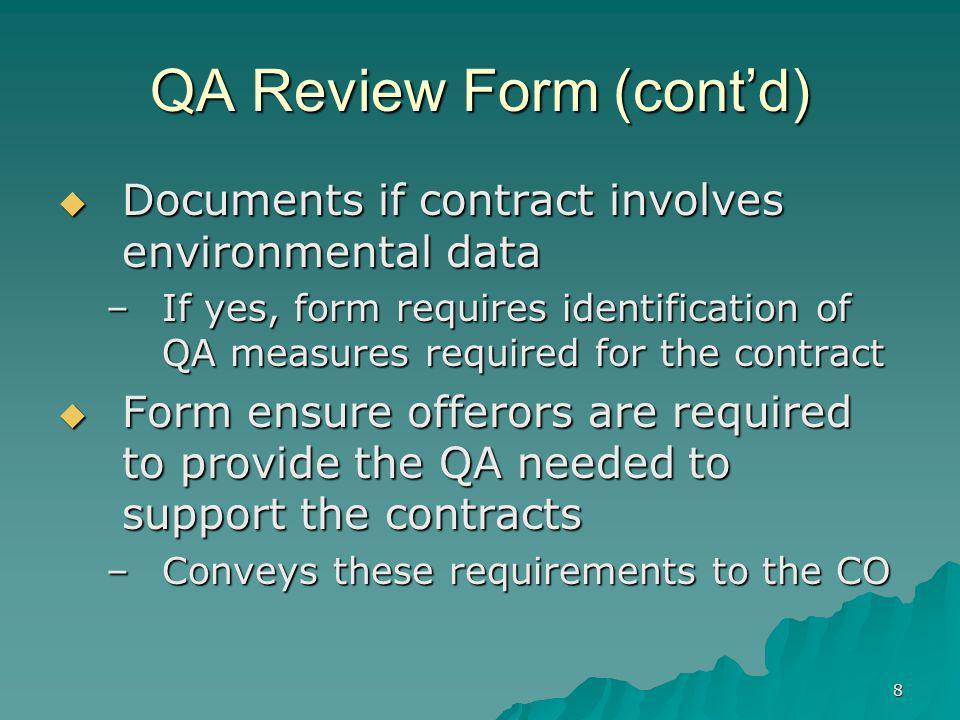 QA Review Form (cont'd)