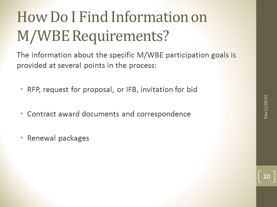 How Do I Find Information on M/WBE Requirements