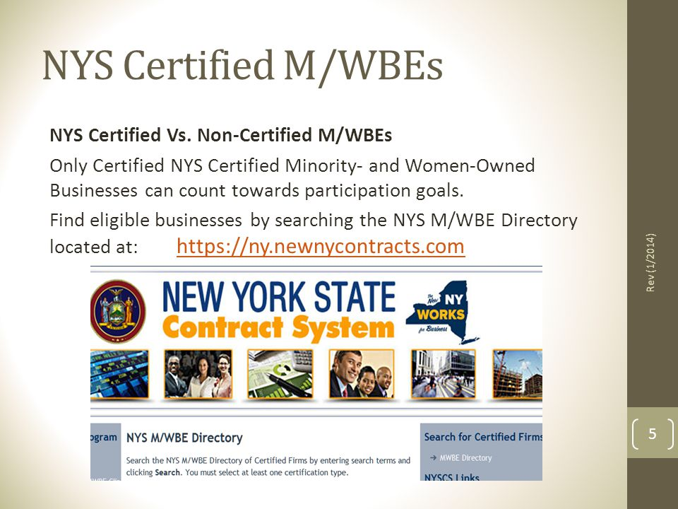 NYS Certified M/WBEs