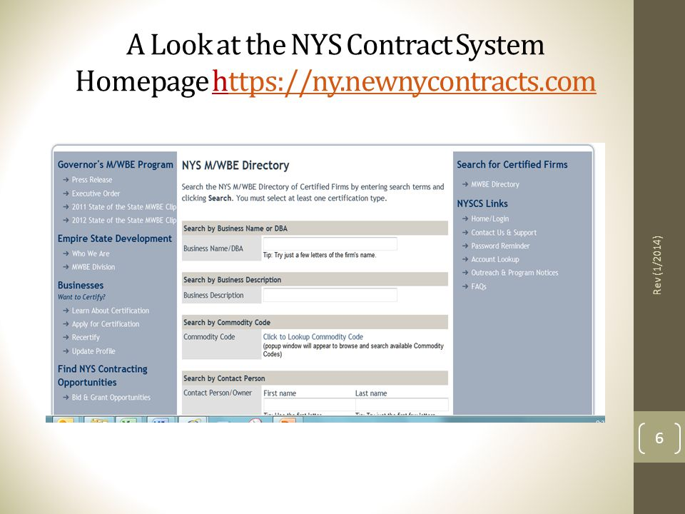 A Look at the NYS Contract System Homepage https://ny. newnycontracts