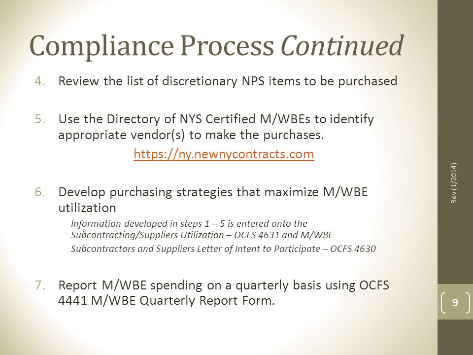 Compliance Process Continued