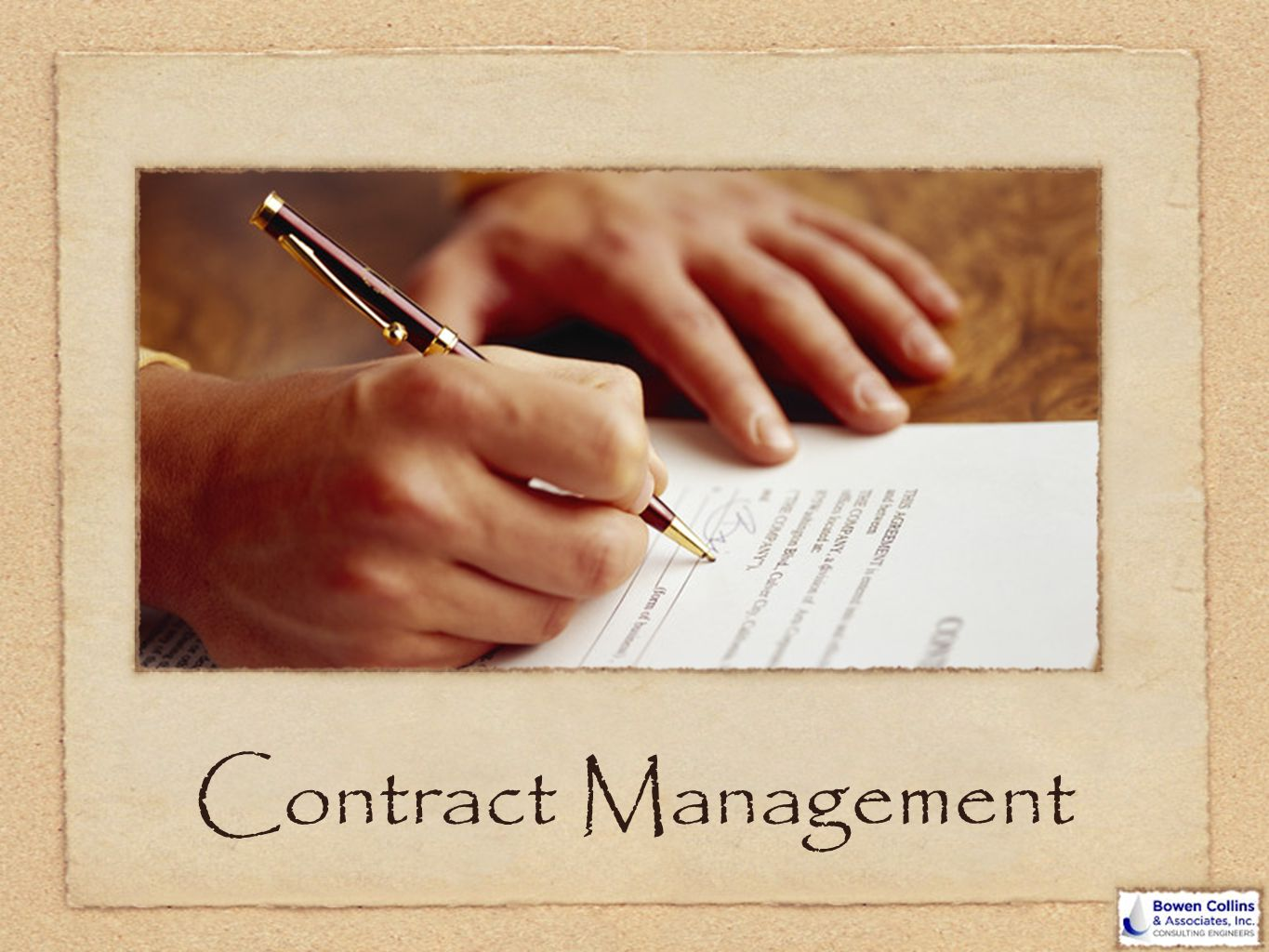 Contract Management Smile and make eye contact