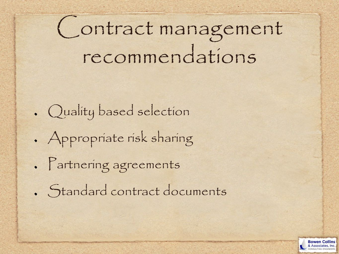 Contract management recommendations