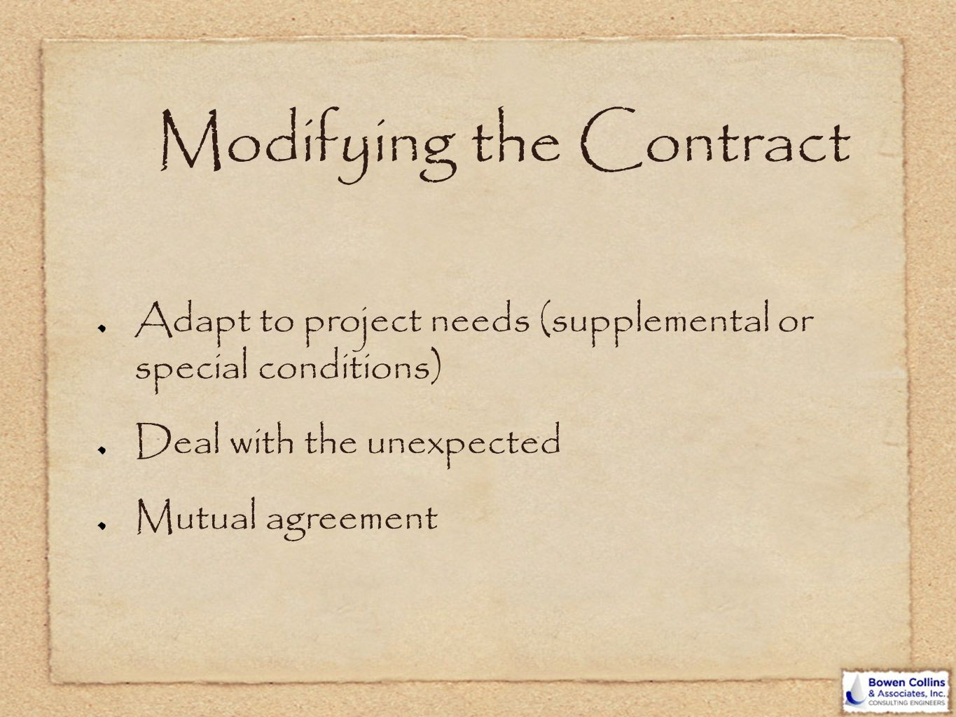 Modifying the Contract
