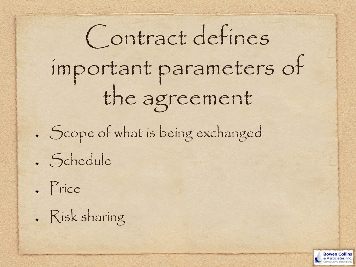 Contract defines important parameters of the agreement