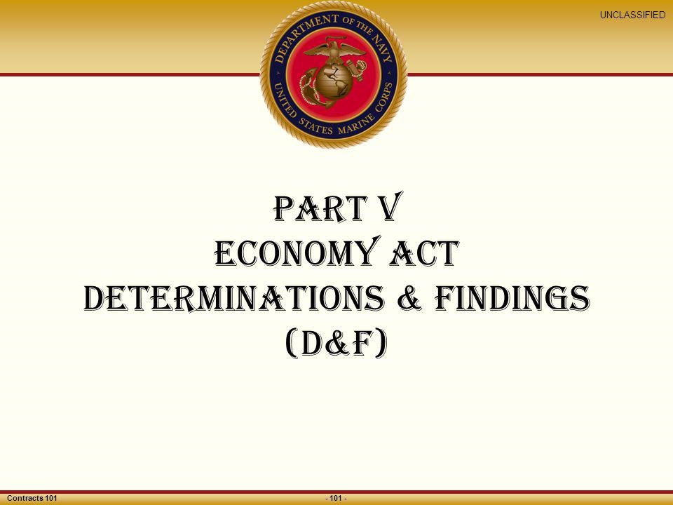 Part V economy act Determinations & Findings (D&F)