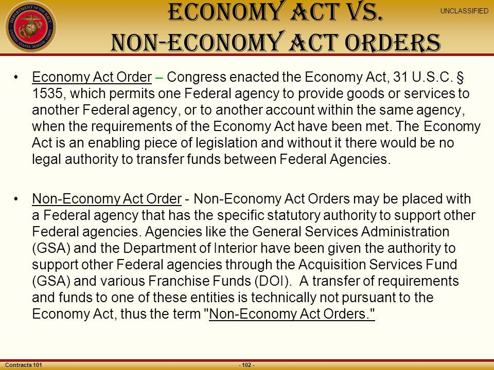 Economy Act Vs. Non-Economy Act Orders