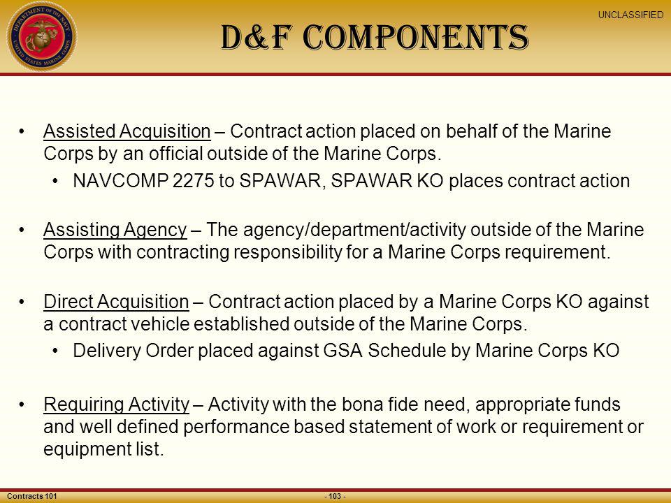 D&F Components Assisted Acquisition – Contract action placed on behalf of the Marine Corps by an official outside of the Marine Corps.