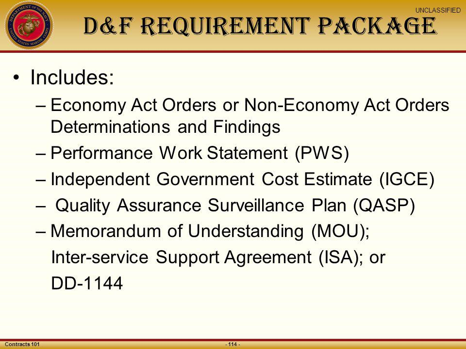 D&F Requirement Package