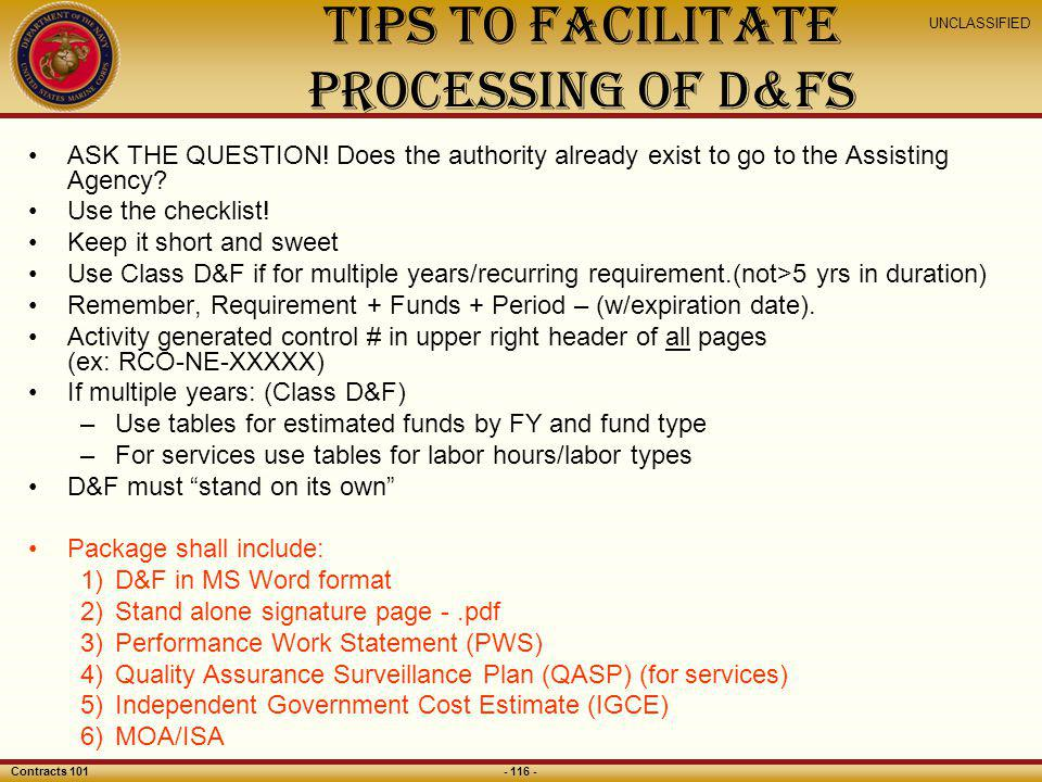 Tips to Facilitate Processing of D&Fs