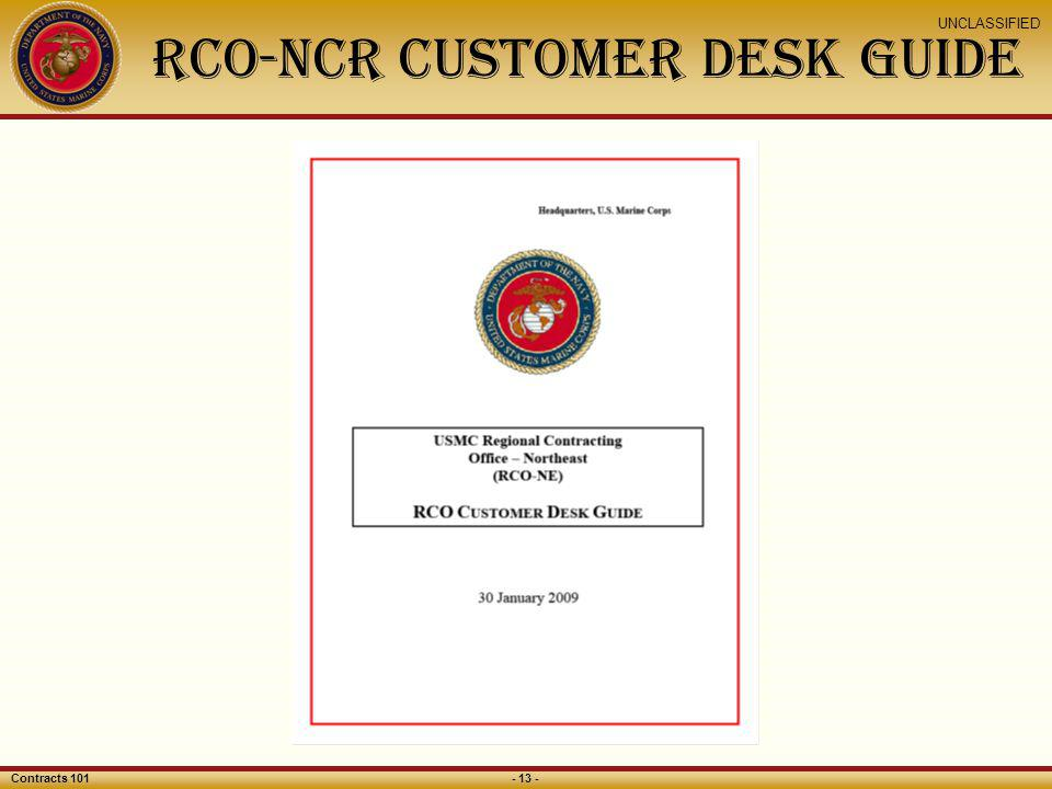 RCO-NCR Customer Desk Guide