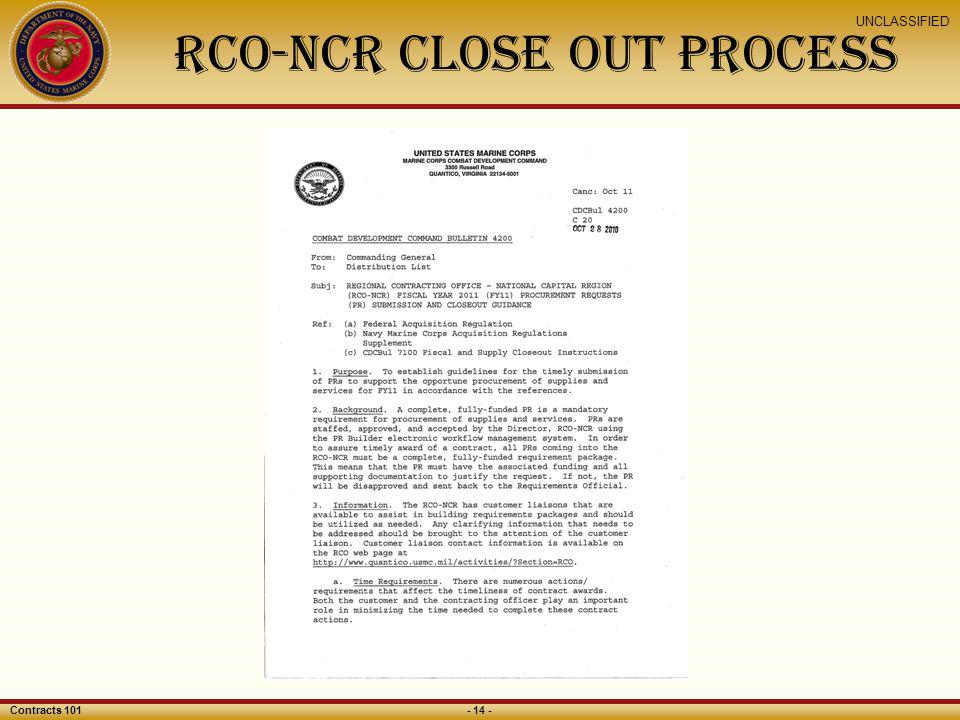 RCO-NCR Close Out Process