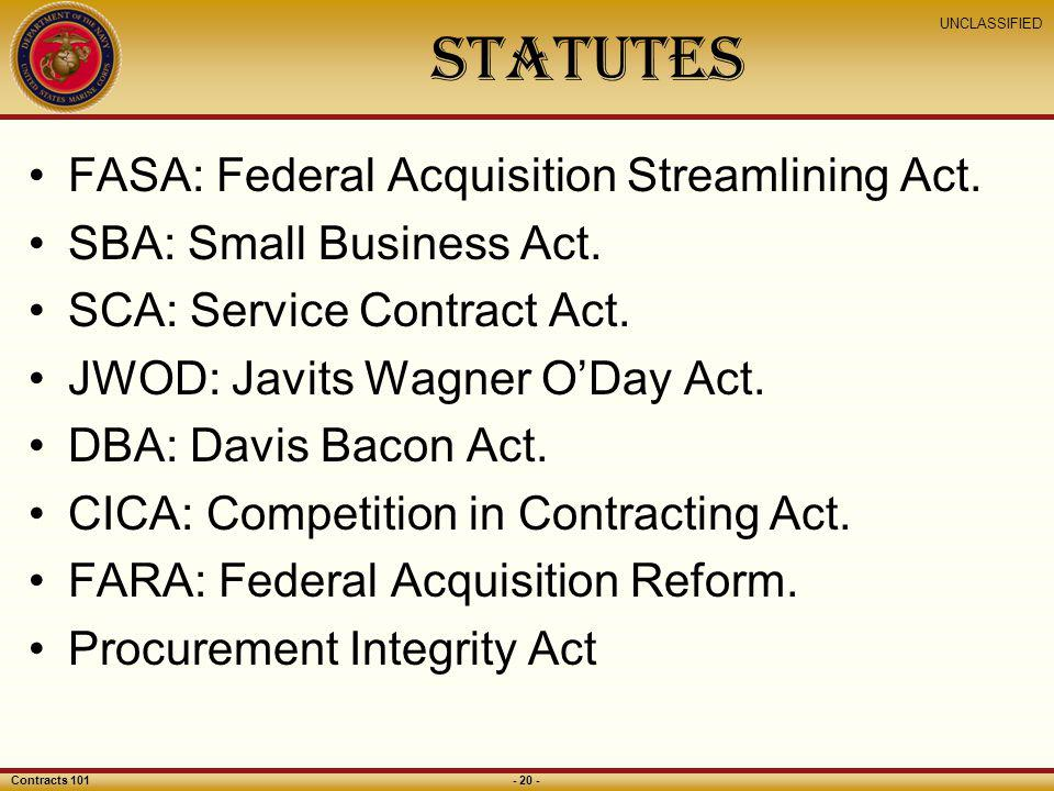 Statutes FASA: Federal Acquisition Streamlining Act.