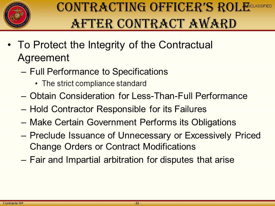 Contracting Officer's Role After Contract Award