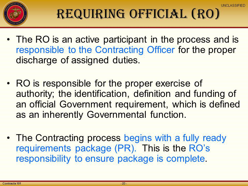 Requiring Official (RO)