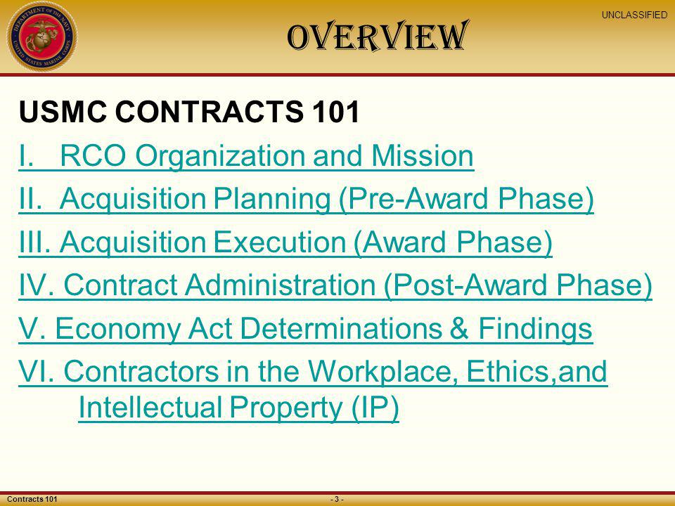 OVERVIEW USMC CONTRACTS 101 I. RCO Organization and Mission