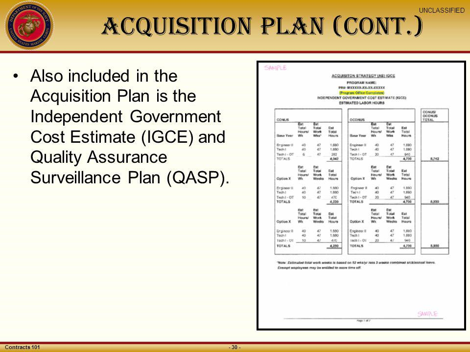 Acquisition PLAN (CONt.)