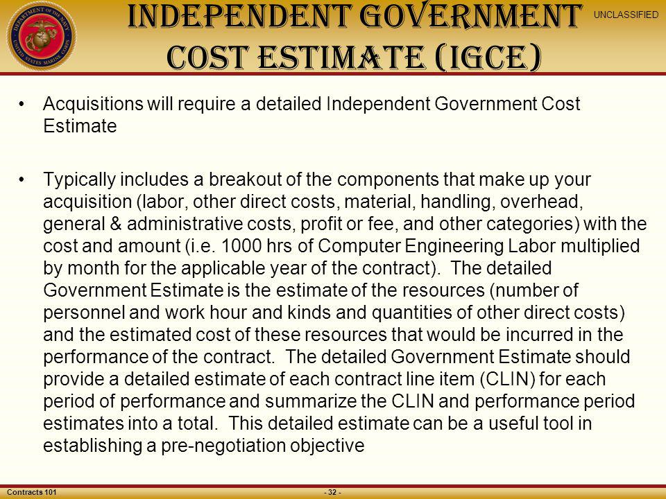 Independent government cost estimate (IGCE)