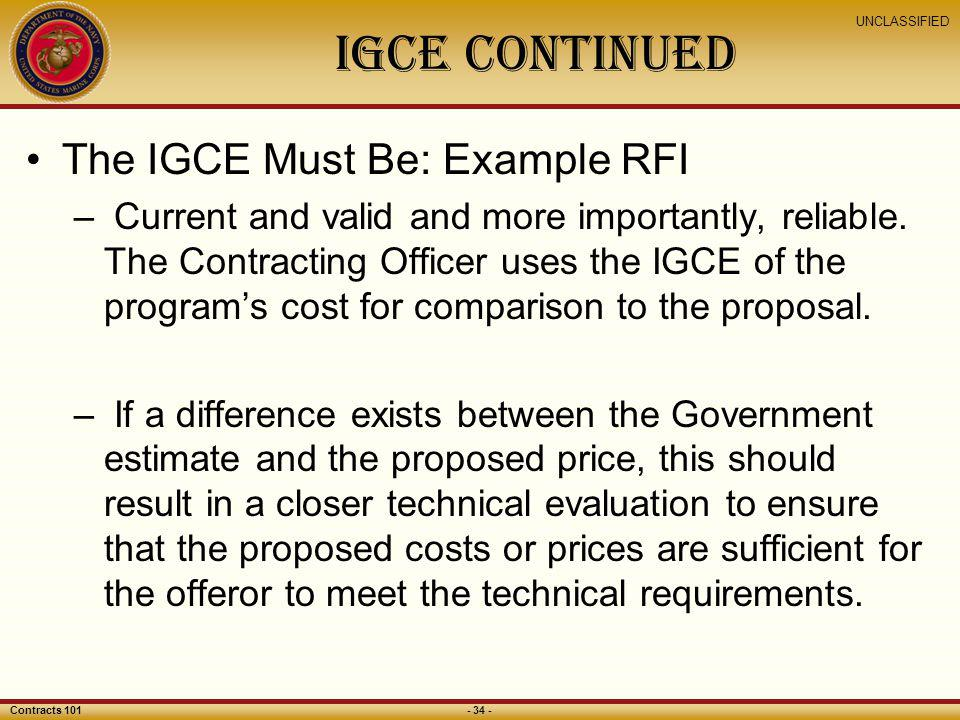 IGCE Continued The IGCE Must Be: Example RFI