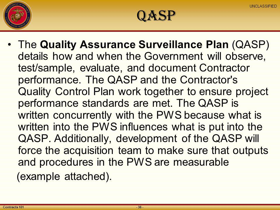 Usmc regional contracting office national capital region for Quality assurance surveillance plan template