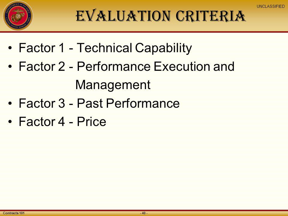 Evaluation Criteria Factor 1 - Technical Capability