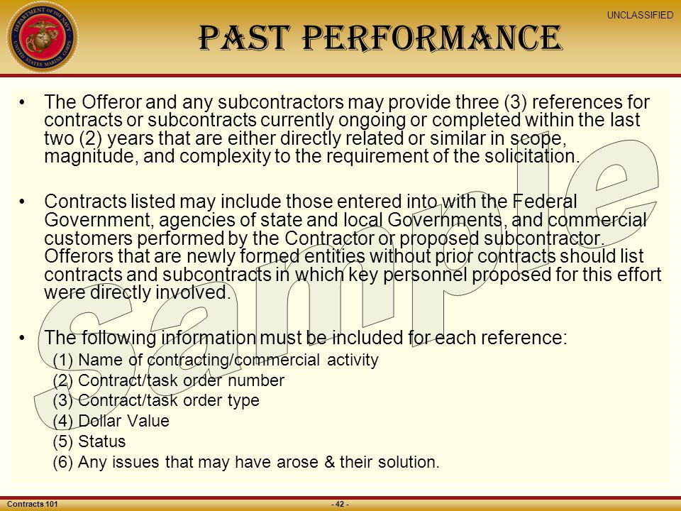 Past Performance Sample